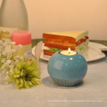 Suportes cerâmicos redondos vitrificados do Tealight do azul de oceano para a decoração do casamento