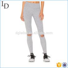 Pantalones de cintura alta de algodón con spandex gimnasio suave legging aptitud rodilla agujero