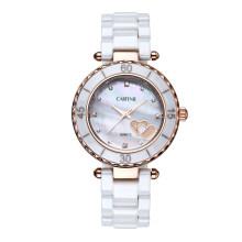 Trendy Top Class Diamante tachonado movimiento Shear Pearl Dial zafiro cristal cerámica Lady Relojes