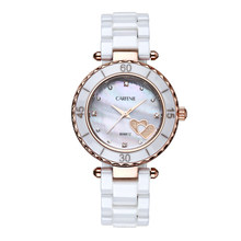 Trendy Top Class Diamond Studded Movement Shear Pearl Dial Sapphire Crystal Ceramic Lady Watches