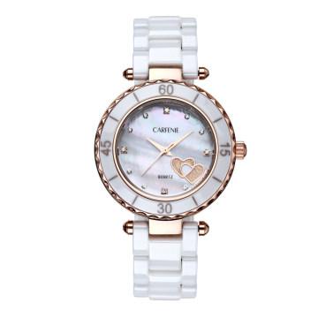Trendy Top Class Diamante Studded Movimento Shear Pérola Dial Sapphire Cristal De Cerâmica Senhora Relógios