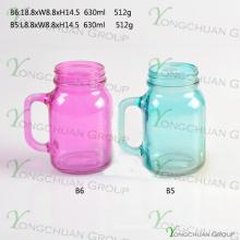 600ml de color con mango de cristal Mason Jars para la venta