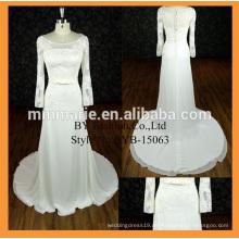 Neue Ankunftsqualitätssatin-Gewebe langes Hülsenhochzeitskleid-Großhandelskleid mit Bowknotgurt bescheidenes Brautjunferkleid