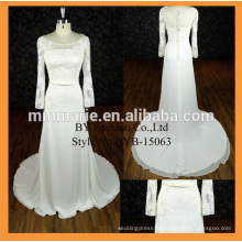 New arrival high quality satin fabric long sleeve wedding dress wholesale dress with bowknot belt modest bridesmaid dress