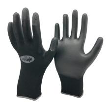 NMSAFETY 13 калибра трикотажные черный нейлон PU окунул дмфа бесплатно рабочие перчатки для строительства