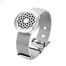 Escavar pulseira de aço inoxidável magnética difusor de óleo essencial pulseira