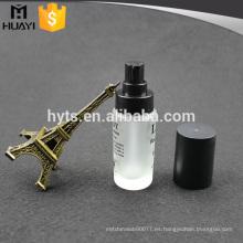 Botella de fundación líquida de cristal cosmética 30ml con la bomba negra