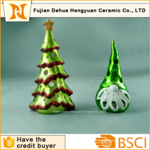 Plating Ceramic Christams Tree Candle Holder, Christma Decoration