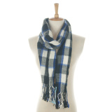 Newest Check Pattern Men Woven Scarf with Tassels