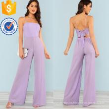 Púrpura corbata ancha pierna mono OEM / ODM fabricación venta al por mayor moda mujeres ropa (TA7008J)