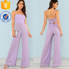 Purple Tie Back Jumpsuit Wide Leg Jumpsuit OEM / ODM Fabrication En Gros Mode Femmes Vêtements (TA7008J)