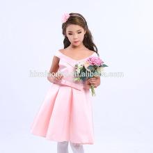 Ventes chaudes Violet Rouge Rose Blanc Couleur V Cou Enfants Robes Robes Bébé Fille Robe D'été