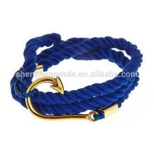 Vente en gros Accessoires en acier inoxydable bon marché Ancres Bracelet marine nautique Bijoux Mode Bracelets à corde pour femmes