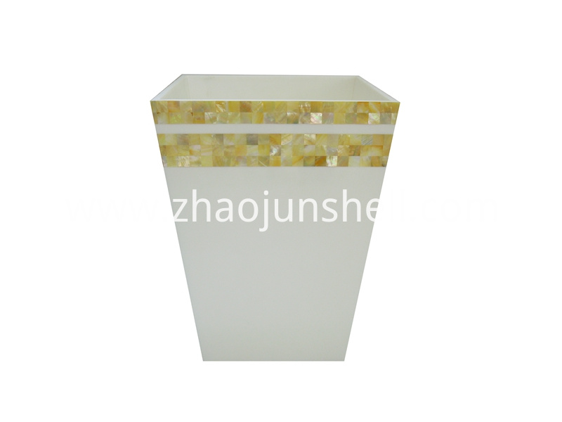 golden mother of pearl trash bin