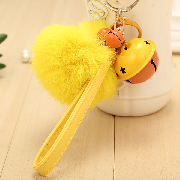 Customized Rabbit Fur Ball Charm Keychain