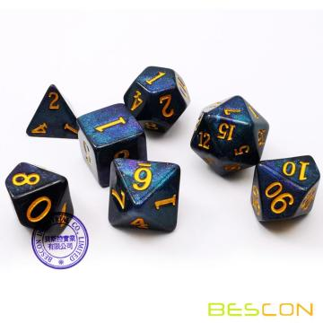 Bescon Starry Night Dice Set Series, 7pcs Polyhedral RPG Dice Set of MIDNIGHT, Tinbox Set