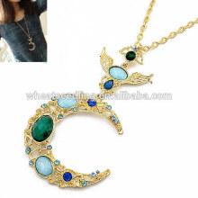 Coreano moda colar de lua de ouro