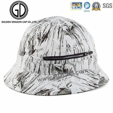 2016 Nouveau chapeau style Black White Graffiti Zipper Bucket Hat