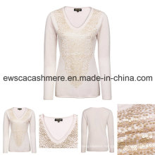 Women′s V-Neck Pure Cashmere Knitwear with Sequins