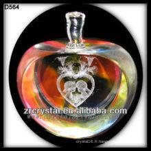 Coeur de laser 3D de K9 à l'intérieur de la pomme en cristal colorée