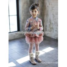 Новая Фабрика детская одежда цветок девушки платье конструкции девочка европейский стиль элегантный маленькая девочка зимой платье Рождество