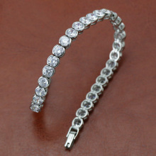 Zircon row setting with stainless steel bracelet