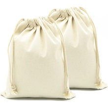 Promotional recycled small cloth organic cotton drawstring bags pouch