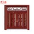 Hot Sales Traditional Design Steel Entrance Couple Leaf Door Together Red Wood Colour