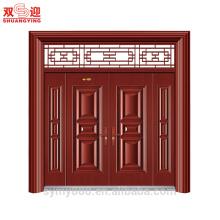 Las ventas calientes de diseño tradicional de entrada de acero pareja hoja puerta junto rojo madera color