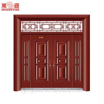 Hot Sales Traditional Design Steel Entrance Couple Leaf Door Together Red Wood Colour