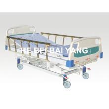 (A-46) - Lit d'hôpital manuel à trois fonctions mobile avec tête de lit ABS