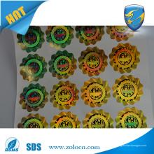 Papier holographique anti-contrefaçon Autocollant d'étiquette circulaire