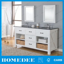 High End Double Under Sink Bathroom Cabinet With Marble Countertop
