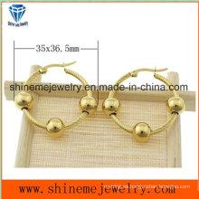 Shineme Joyas de alta calidad de acero inoxidable Ear Stud plateado pendiente de oro (ERS6968)