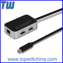 USB 3.1 Type C to USB 3.0 Hub RJ45 Ethernet Network LAN Adapter SD/TF Card Reader Adapter
