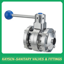 DIN Sanitary 3PCS Butterfly Valves Weld Pull Handle