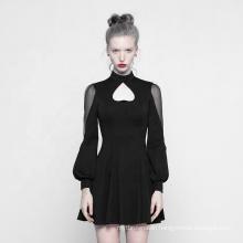 OPQ-305 PUNK RAVE High Neck Dress Women Lace Casual Dress Rave Clothes Black Plus Size Long Sleeve Summer Short Spandex / Cotton