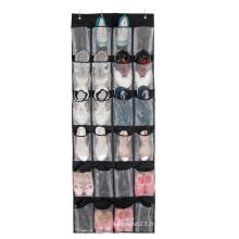 Organisateur de chaussures suspendu au-dessus de la porte avec 24 grandes poches maillées, noir