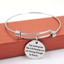 Fashion Engraved Charms Wire Adjustable Metal Bangle Bracelet