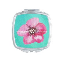Modern Art Baby Blue Flower Pink Cosmetic Mirrors