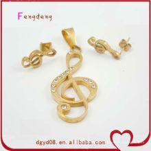 Bonito estilo de música chapado en oro colgante y pendiente conjunto de joyas