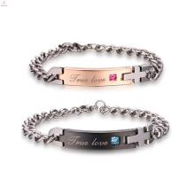 Bracelet en acier inoxydable plaqué or rose 316L Couple