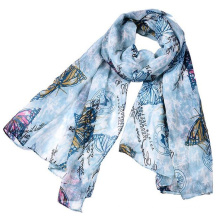 Noticeable wide long very soft head scarf hijab muslim islamic arab voile polyester tribal Printed floral nice scarf