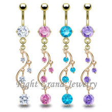 Inox 316L acier inoxydable chirurgical Zircon vigne Dangle Belly Ring