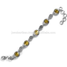 Hermosa joya citrino 925 pulsera de plata esterlina Joyería