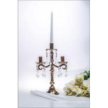 Bronze Three Poster Glass Candle Holder for Wedding Decoration