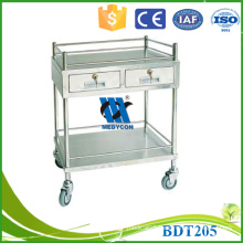 BDT205 used hospital treatment adjustable trolley with drawer for sale