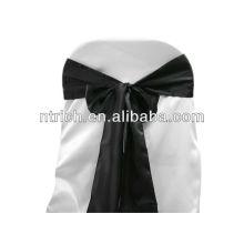 Faixa de cadeira Black Satin, laços de cadeira, quebra para hotel do banquete de casamento
