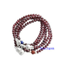 Natural Garnet Beads Bracelet with Silver Charm (BRG0028)