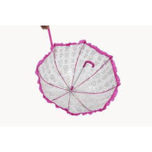 Pink Lace Clear PVC Umbrella Durable Hand Open / Heat Trans